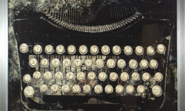 old fashioned type writer grey screen