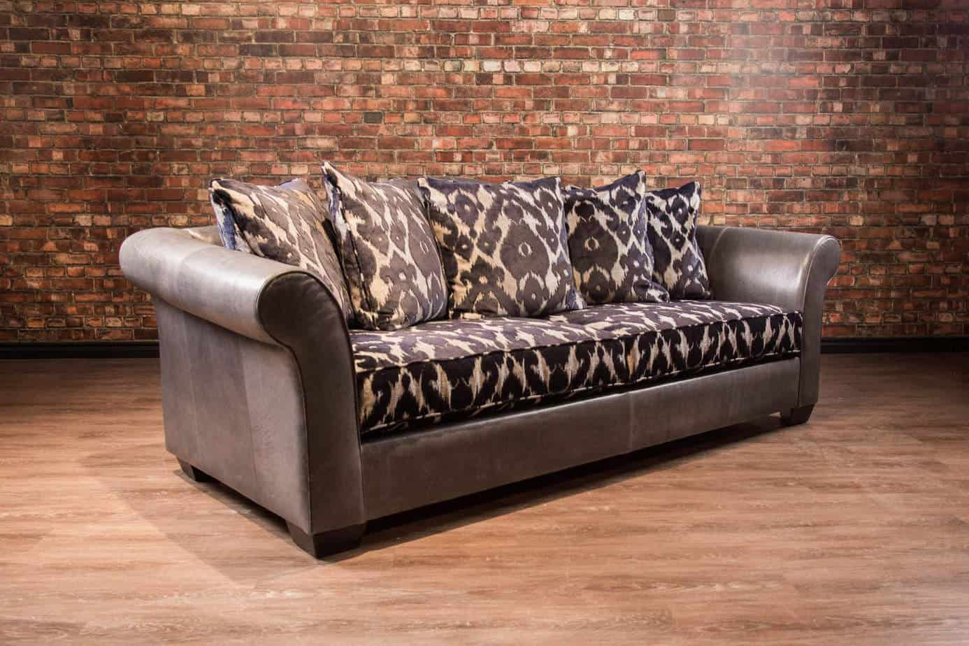 Sir samuel collection leather and fabric sofa combo for Leather sofa and loveseat combo