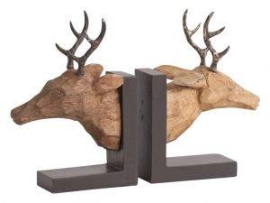 two wooden deers