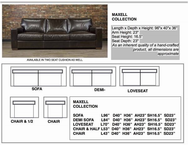 leather sofa maxell sizes