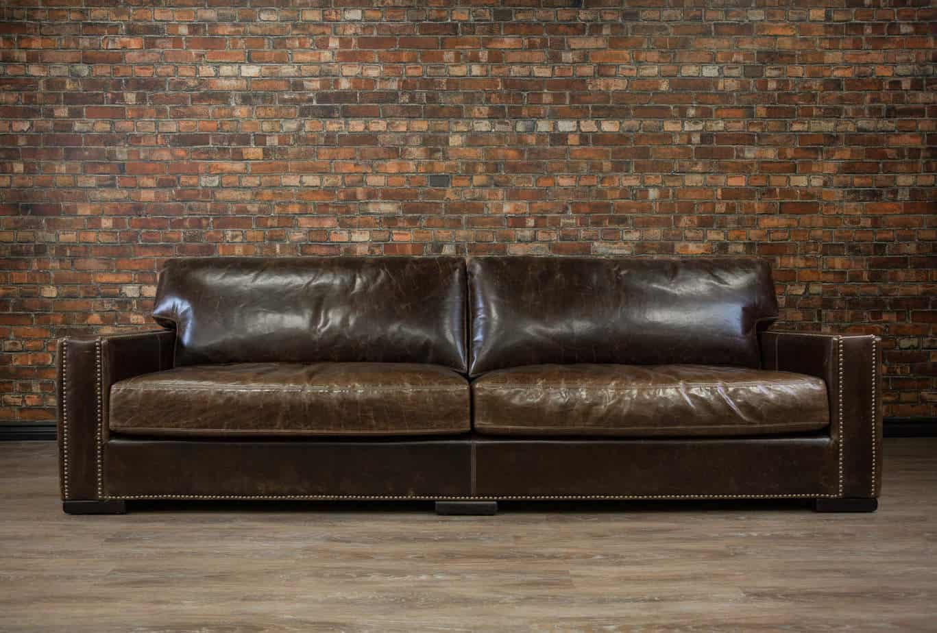 Deep Seat Leather Sofa 9ft Braxton Twin Cushion Leather