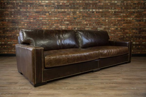 108 deep seat leather sofa
