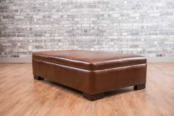 Leather coffee table ottoman