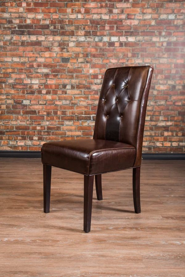 leather dinning chair tufted