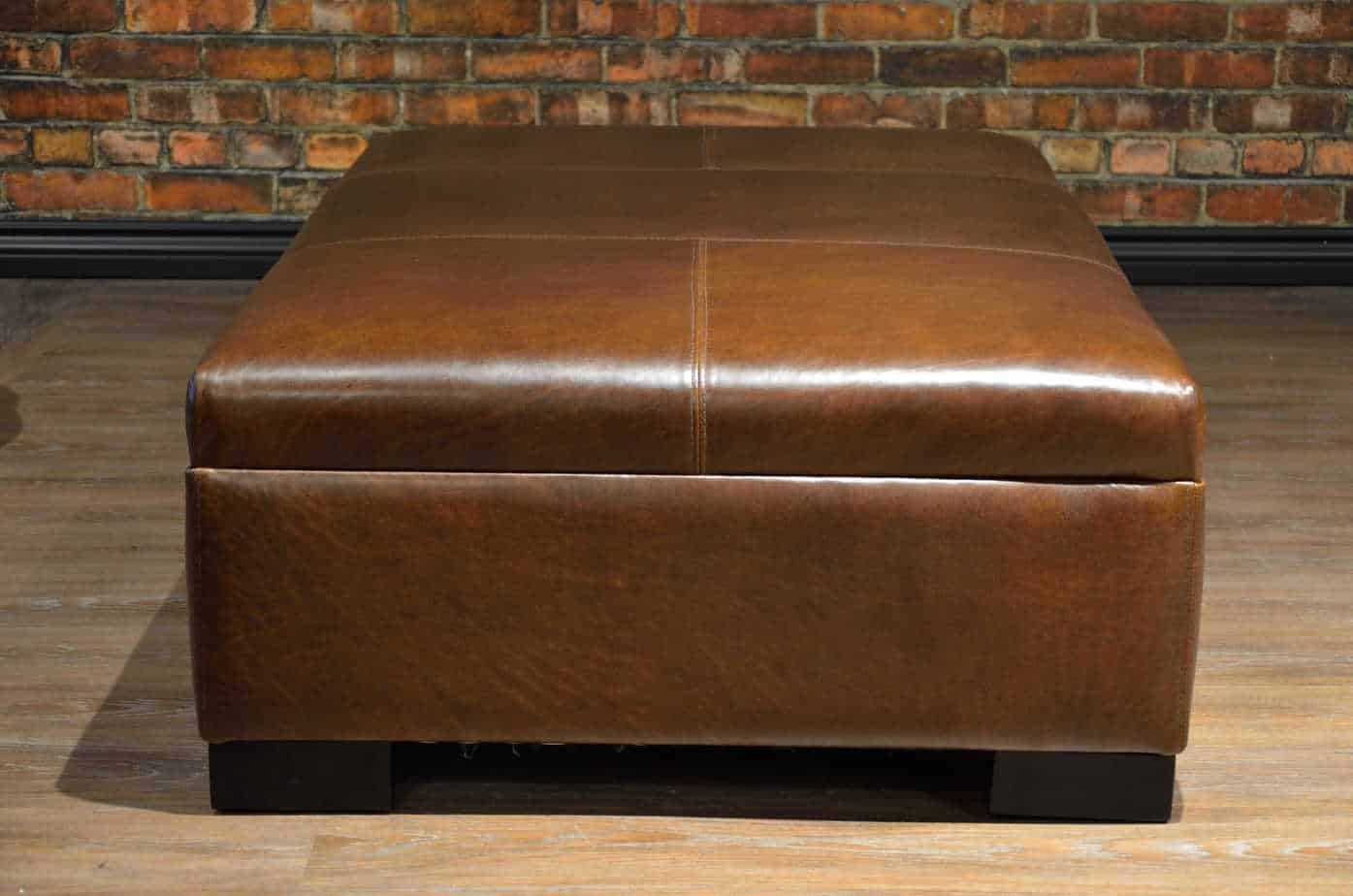 The Leather Coffee Table Ottoman Collection Medium Canada S Boss Leather Sofas And Furniture