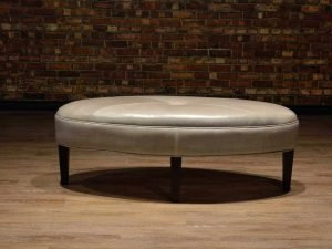 oval leather ottoman