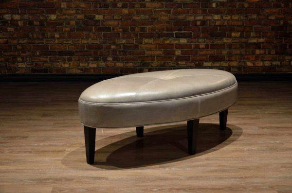 oval leather ottoman