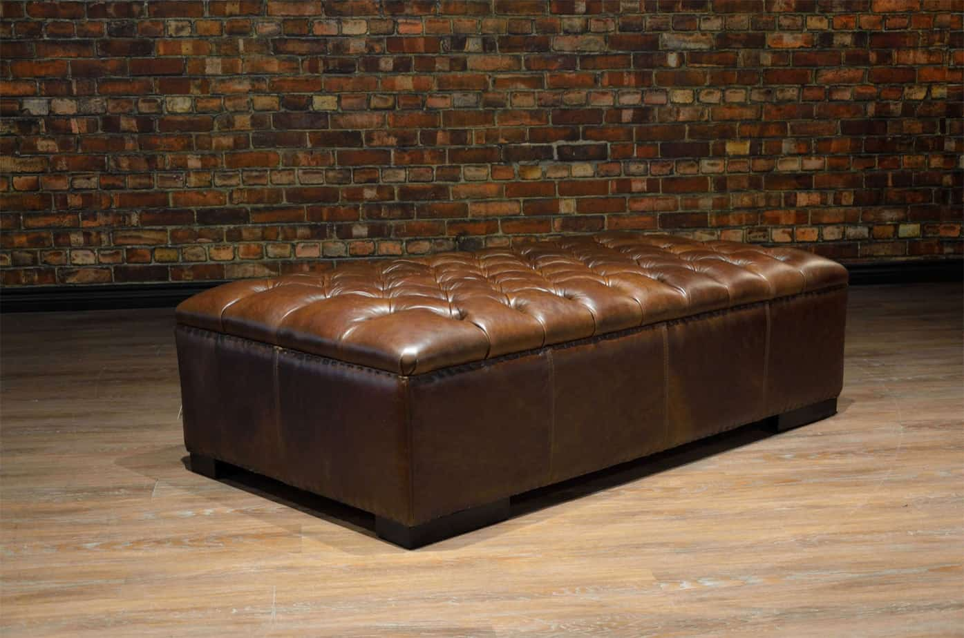 leather ottoman tufted