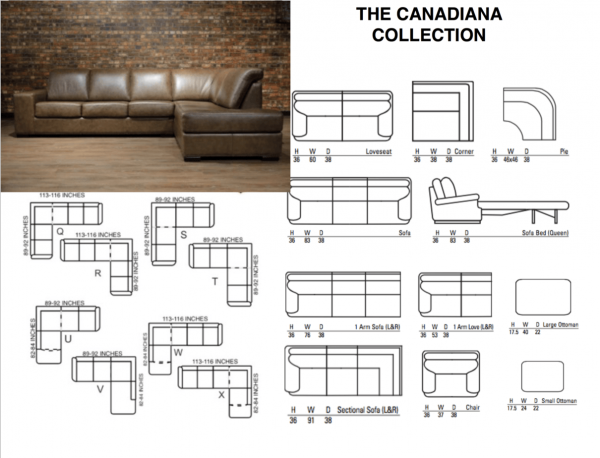 Canadiana straight arm leather sectional