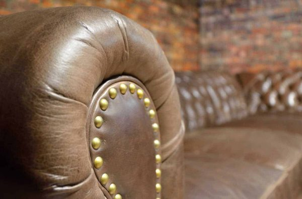 camelot detail arm leather sectional