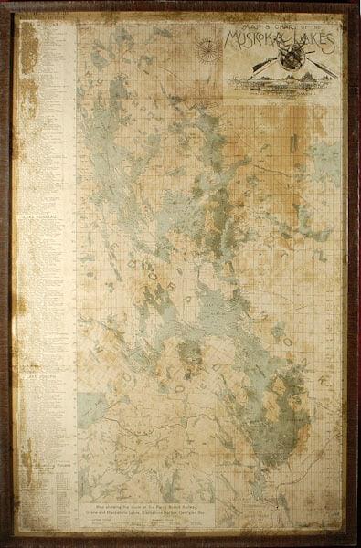 boss leather muskoka lakes wall map