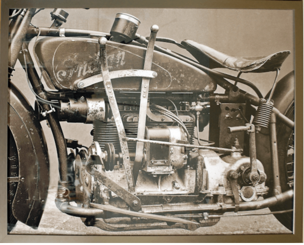vintage harley in grey scale