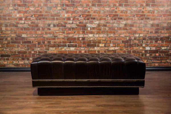 Da Vinci Tuft Leather Ottoman