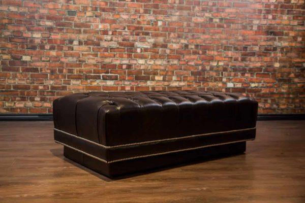 Davinci Tuft Leather Ottoman