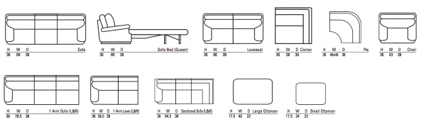bella sectional sizes