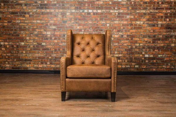 tufted back wing leather chair