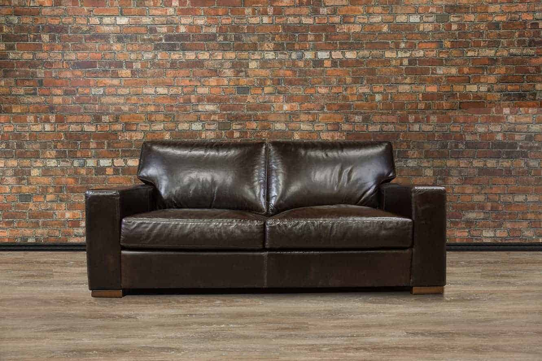 Studio Sized Deep Seat Leather Sofa
