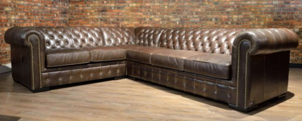 Camelot tufted leather sectionals