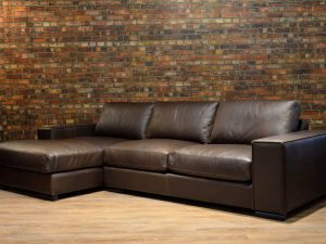 iroquois leather sofa chaise