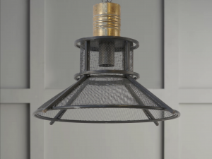 brass and mesh pendant light