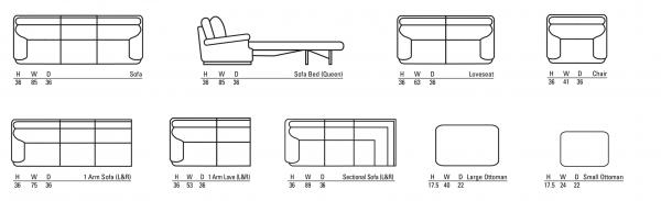 quintessence leather sofa sizes