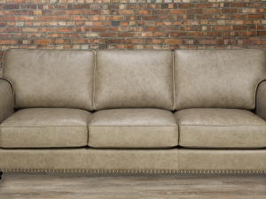 Coral leather sofa