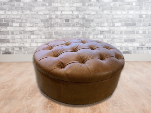 round tufted leather ottoman