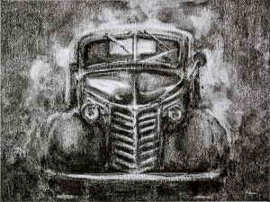 Vintage car grey scale